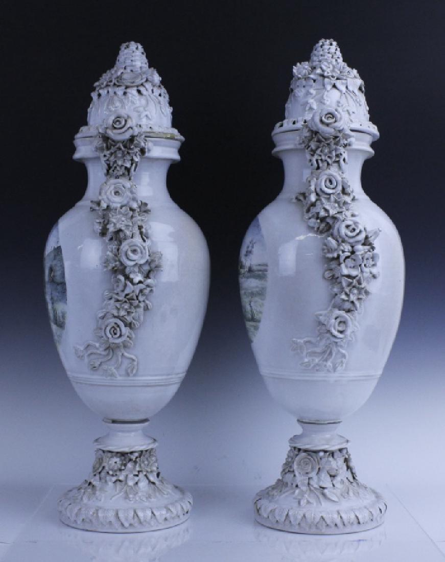 Pair Large Italian Tin Glazed Pottery Scenic Urn - 2