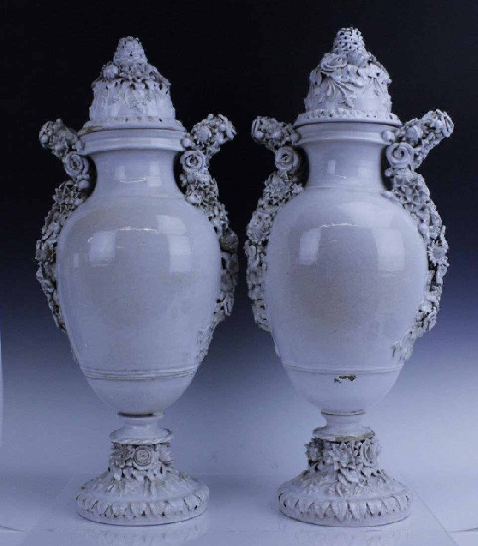 Pair Large Italian Tin Glazed Pottery Scenic Urn - 3