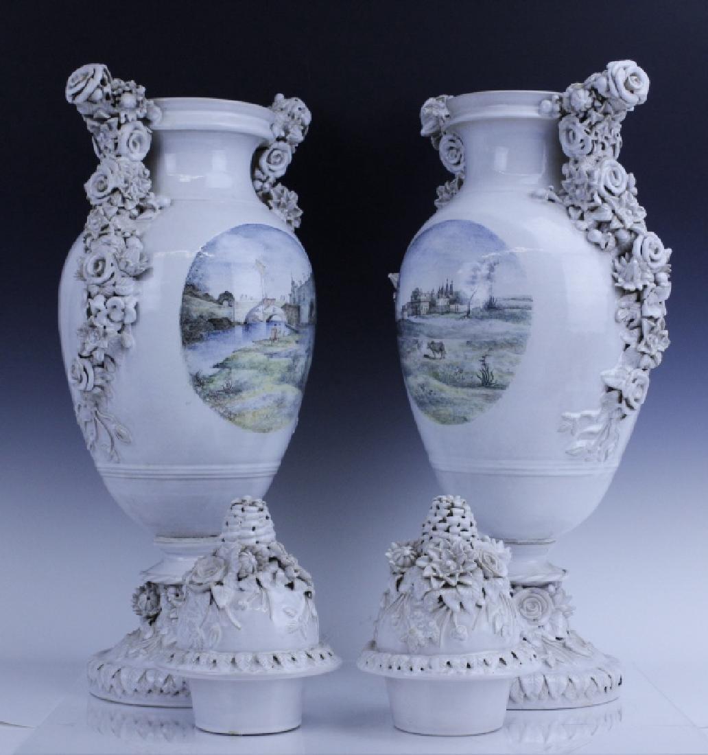 Pair Large Italian Tin Glazed Pottery Scenic Urn - 4