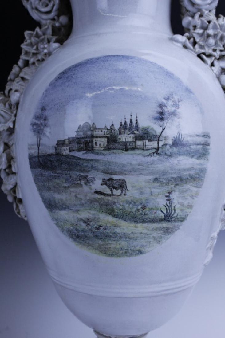 Pair Large Italian Tin Glazed Pottery Scenic Urn - 5