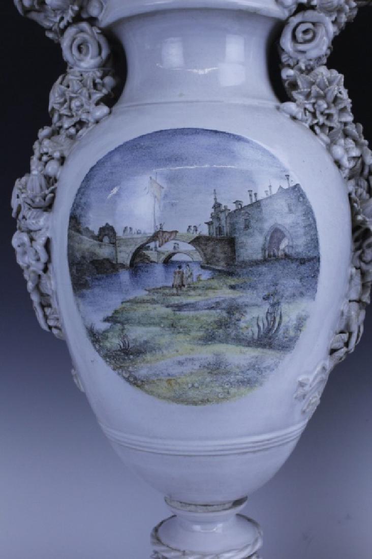 Pair Large Italian Tin Glazed Pottery Scenic Urn - 6