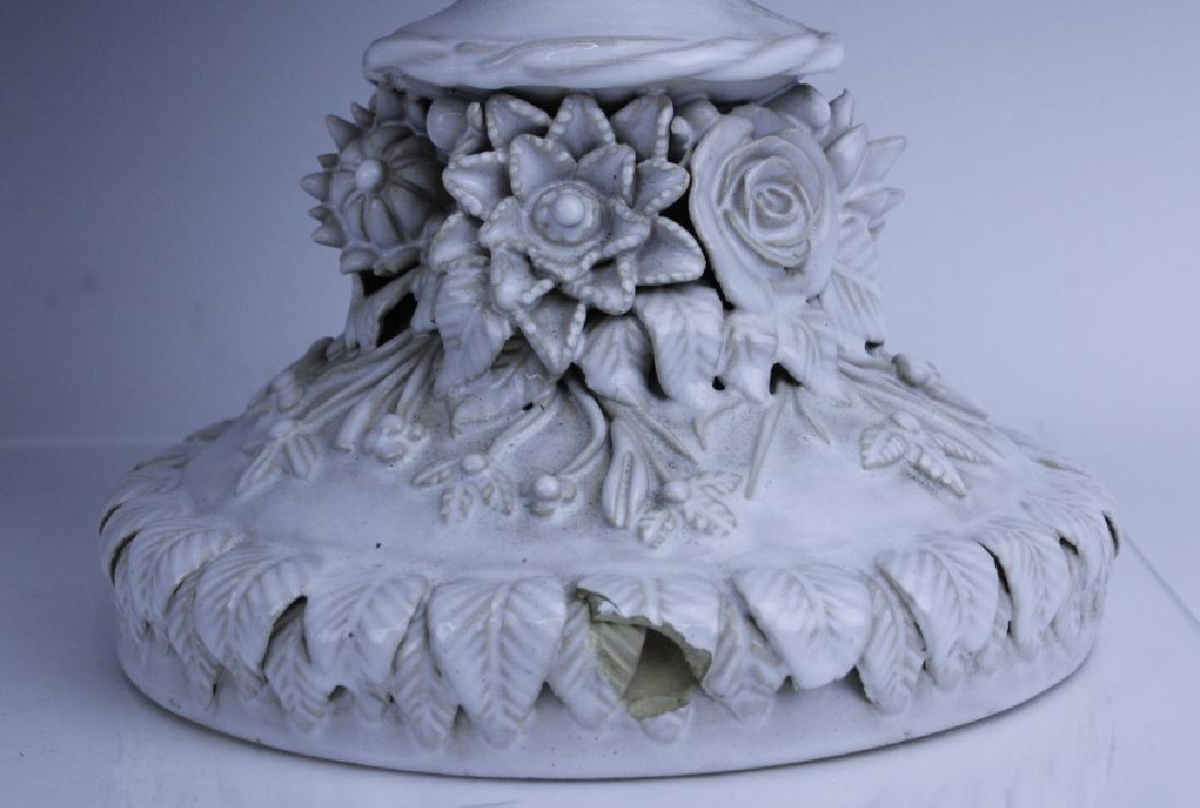 Pair Large Italian Tin Glazed Pottery Scenic Urn - 8