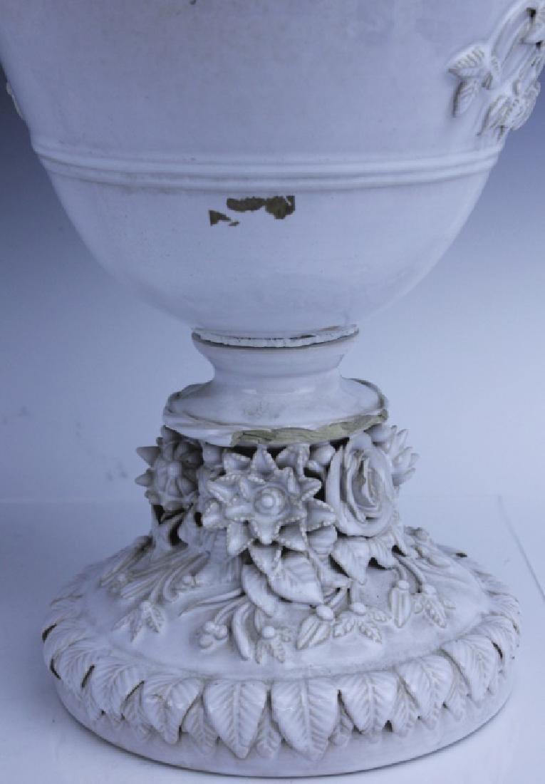 Pair Large Italian Tin Glazed Pottery Scenic Urn - 9