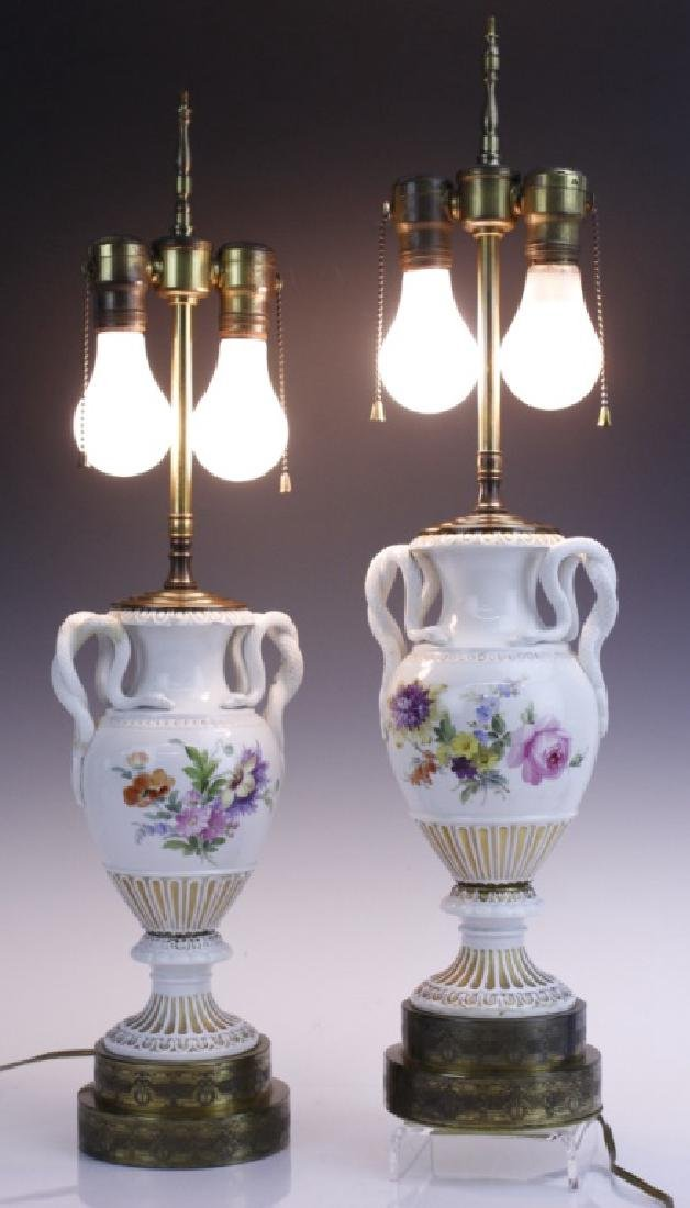 Pair Antique MEISSEN Snake Handle Floral Vase Lamp