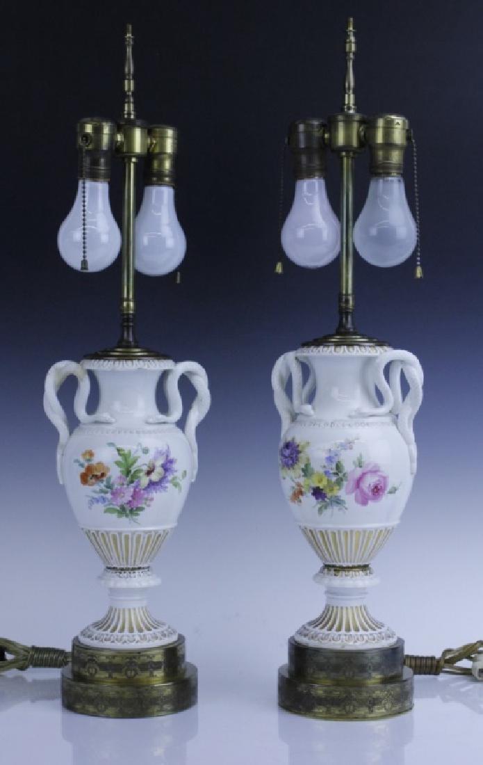 Pair Antique MEISSEN Snake Handle Floral Vase Lamp - 2