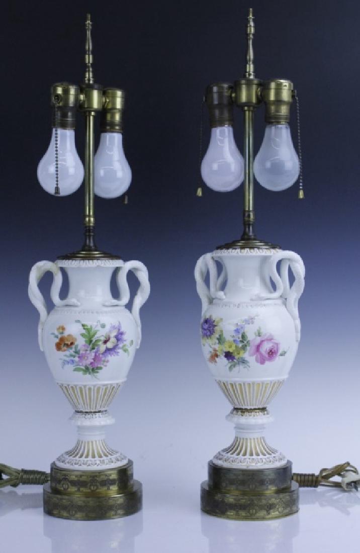 Pair Antique MEISSEN Snake Handle Floral Vase Lamp - 3