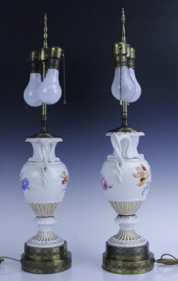 Pair Antique MEISSEN Snake Handle Floral Vase Lamp - 4