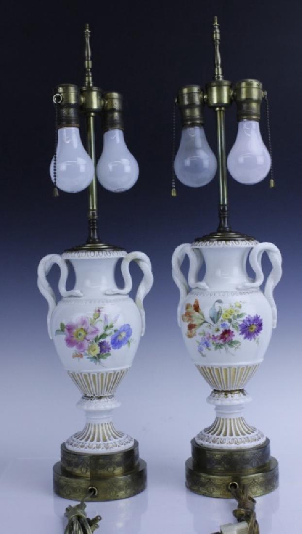 Pair Antique MEISSEN Snake Handle Floral Vase Lamp - 5
