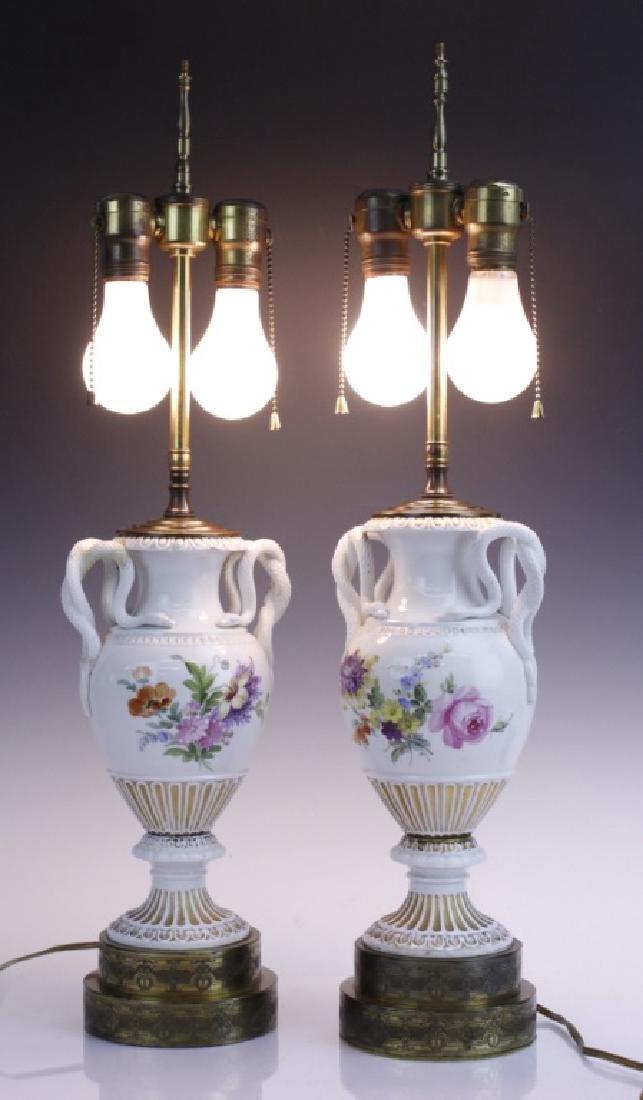 Pair Antique MEISSEN Snake Handle Floral Vase Lamp - 6