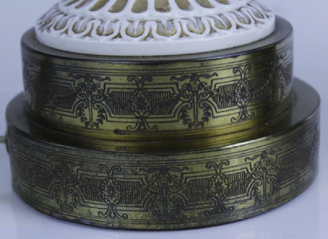 Pair Antique MEISSEN Snake Handle Floral Vase Lamp - 7