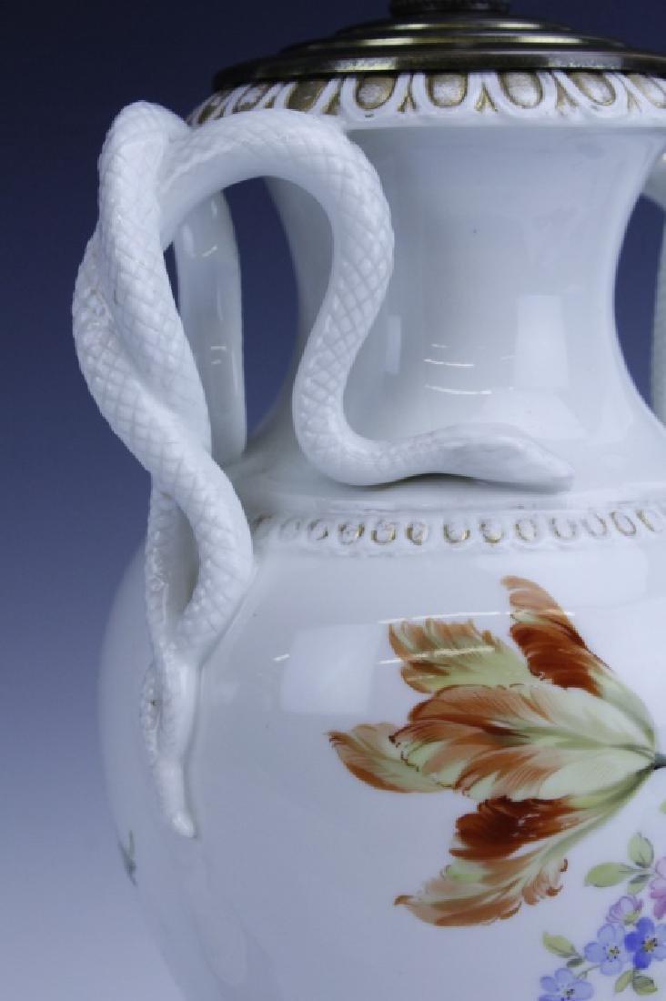Pair Antique MEISSEN Snake Handle Floral Vase Lamp - 8