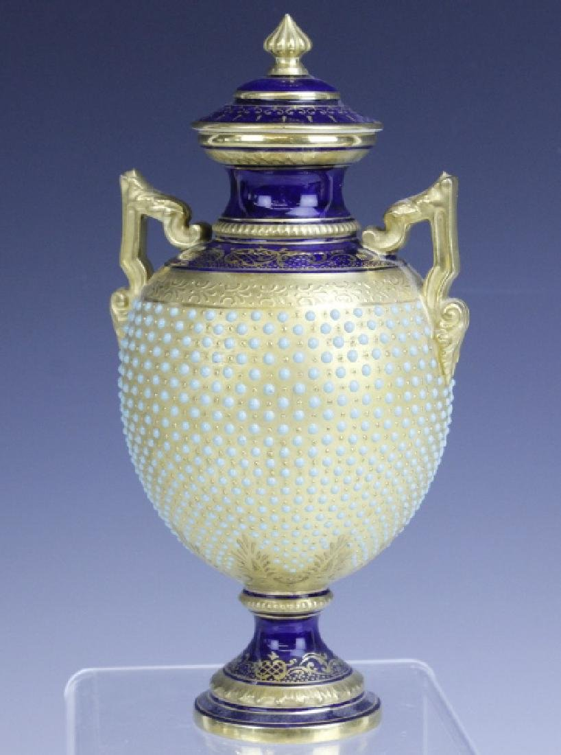 Coalport Turquoise Enamel Jewel Porcelain Vase