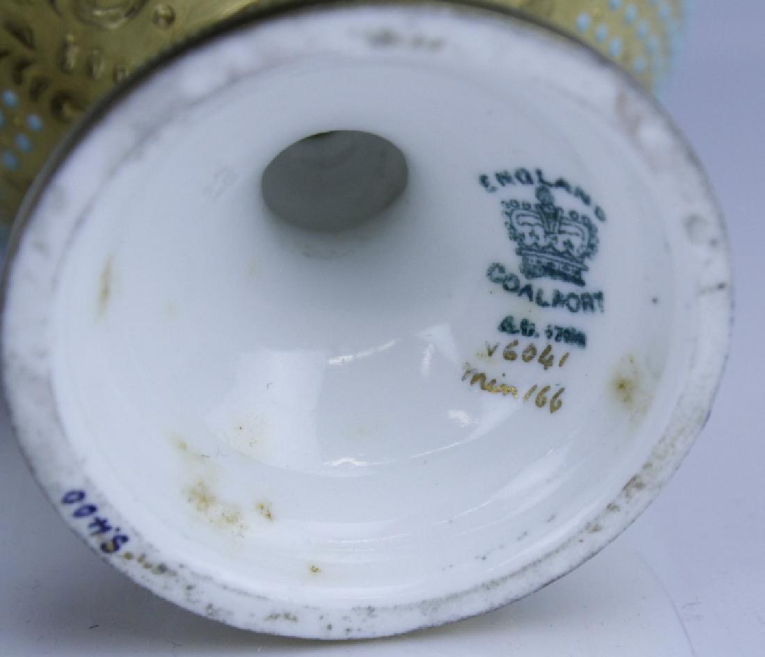 Coalport Turquoise Enamel Jewel Porcelain Vase - 2