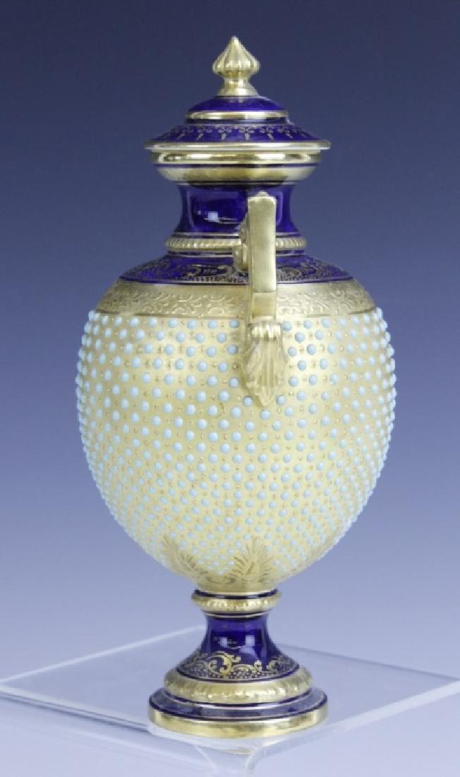 Coalport Turquoise Enamel Jewel Porcelain Vase - 3