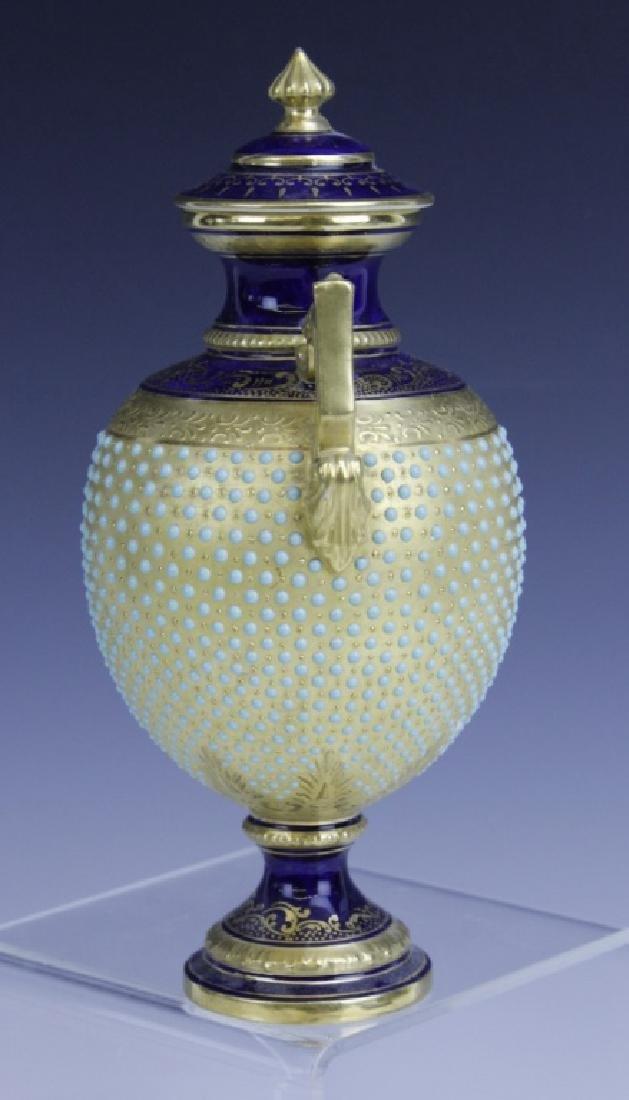 Coalport Turquoise Enamel Jewel Porcelain Vase - 4
