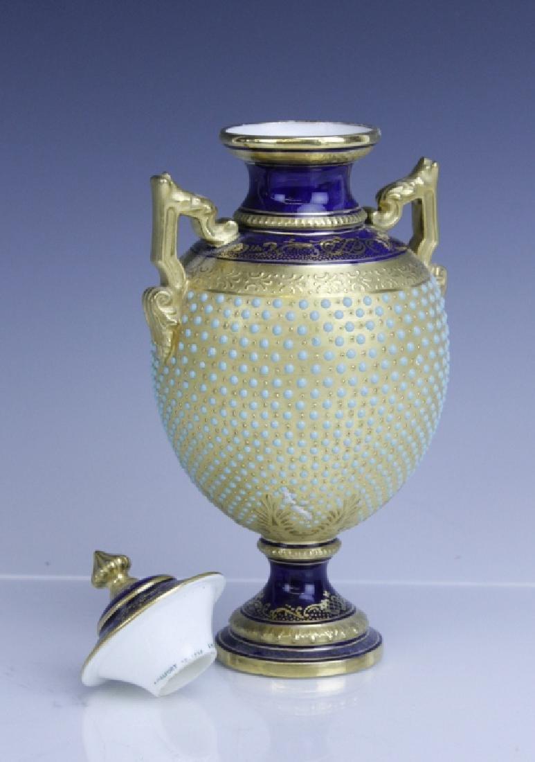 Coalport Turquoise Enamel Jewel Porcelain Vase - 5
