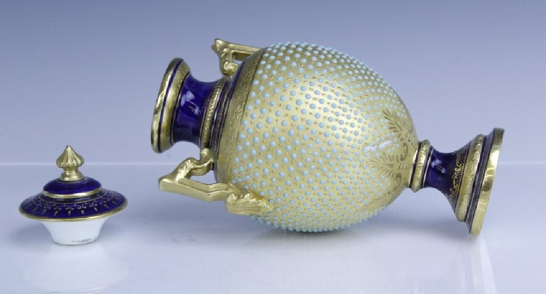 Coalport Turquoise Enamel Jewel Porcelain Vase - 6