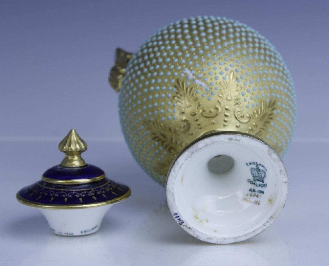 Coalport Turquoise Enamel Jewel Porcelain Vase - 7