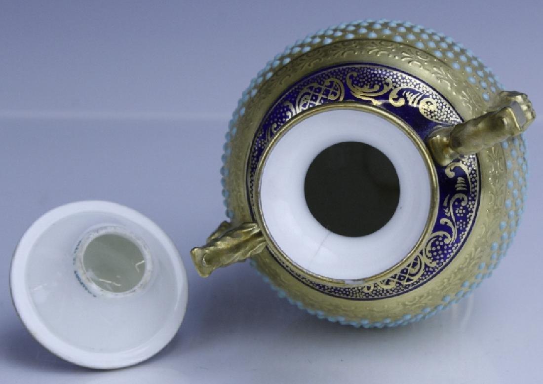 Coalport Turquoise Enamel Jewel Porcelain Vase - 8