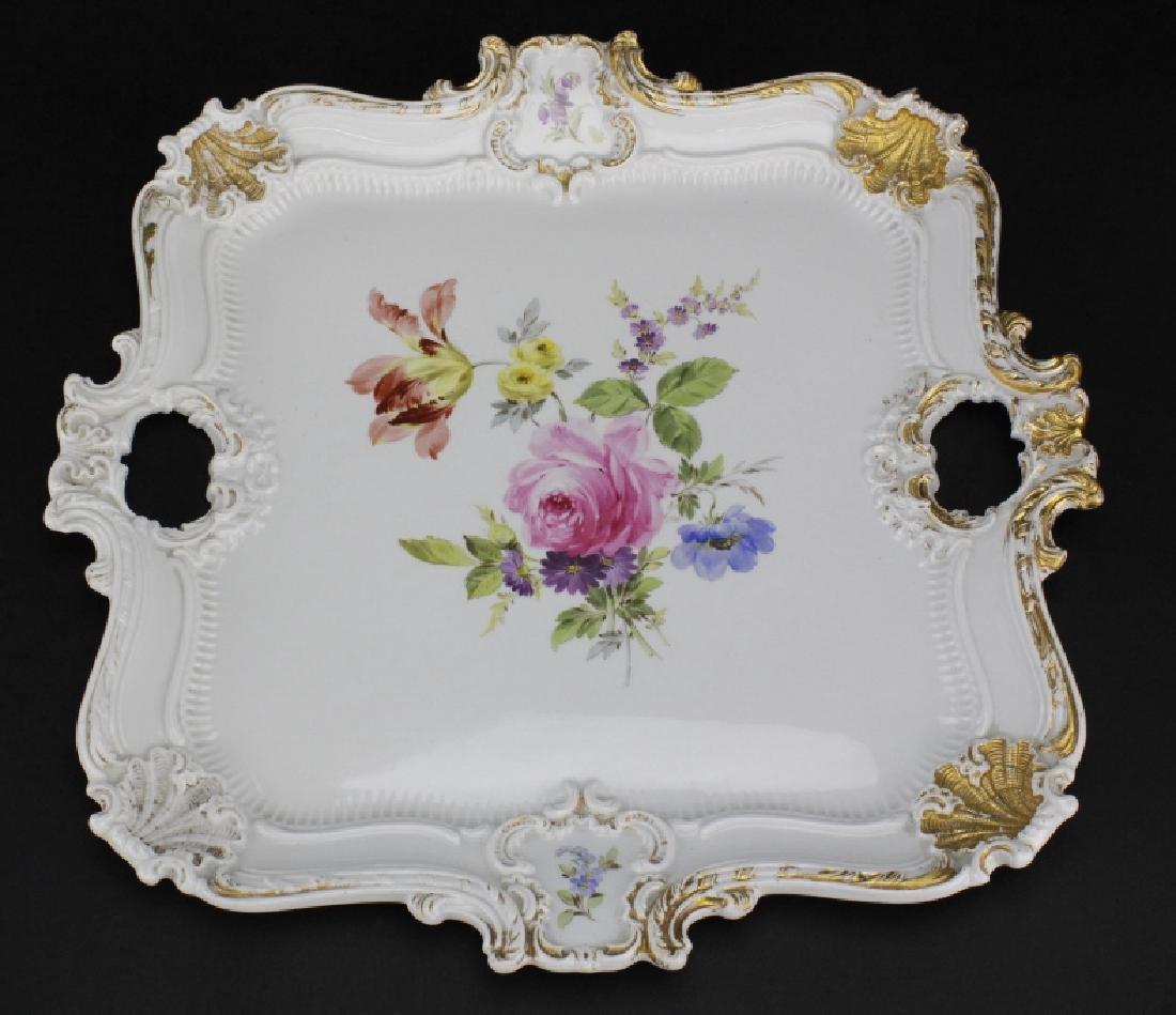 Large MEISSEN Porcelain Floral Square Platter