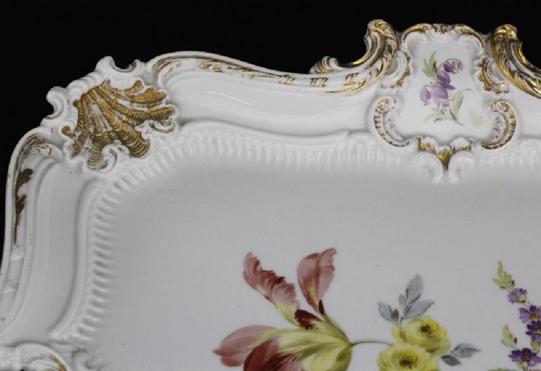 Large MEISSEN Porcelain Floral Square Platter - 5