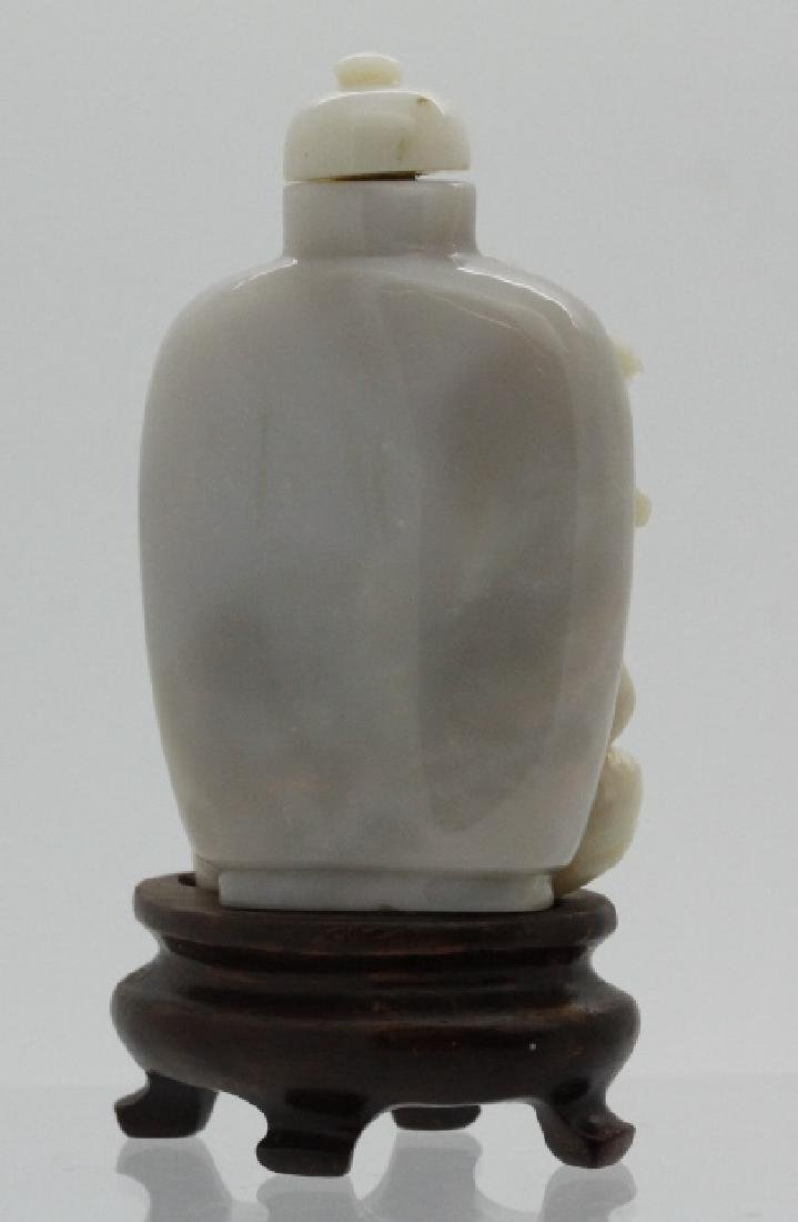 Chinese Foo Dog Dragon Carved Opal Snuff Bottle - 3