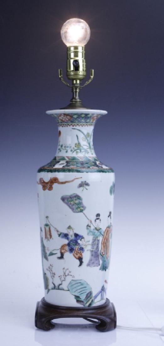 Chinese Export Famille Verte Scenic Vase as Lamp