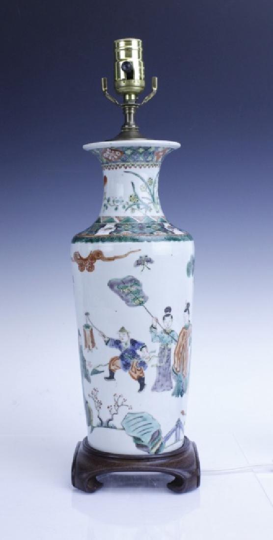 Chinese Export Famille Verte Scenic Vase as Lamp - 2