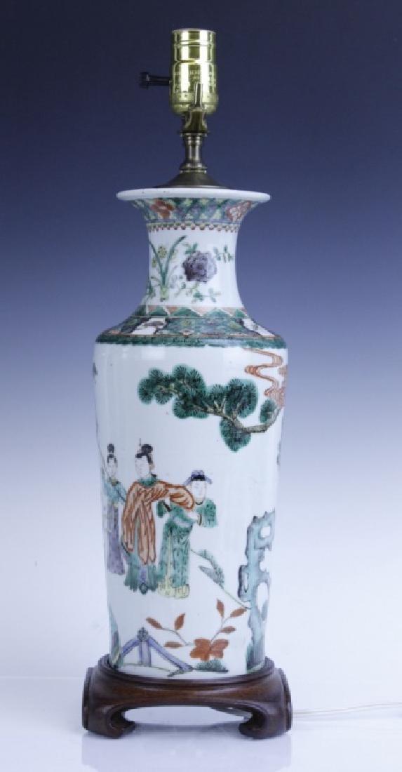 Chinese Export Famille Verte Scenic Vase as Lamp - 3