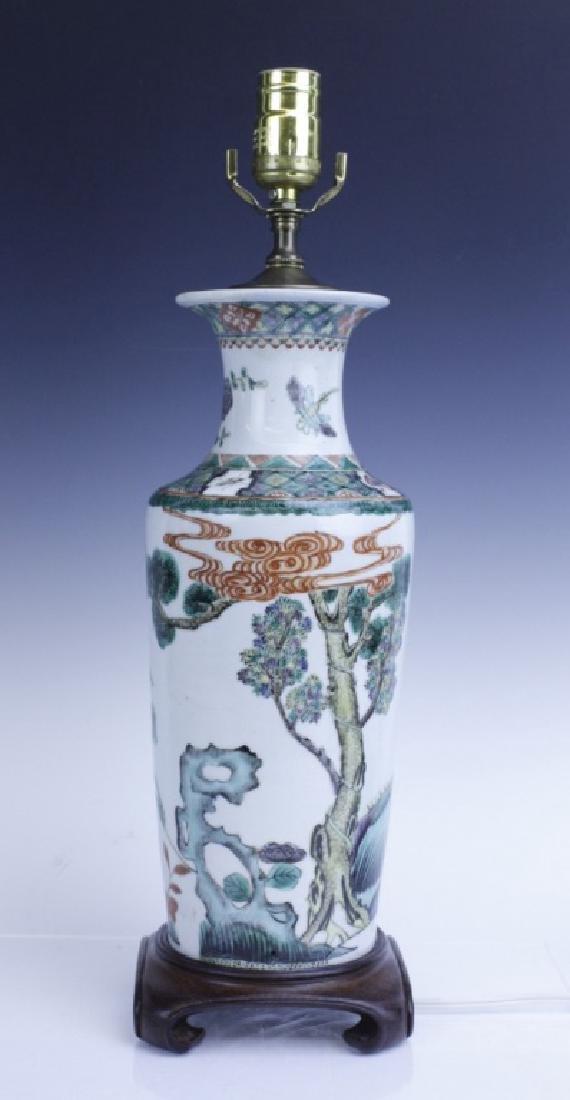 Chinese Export Famille Verte Scenic Vase as Lamp - 4