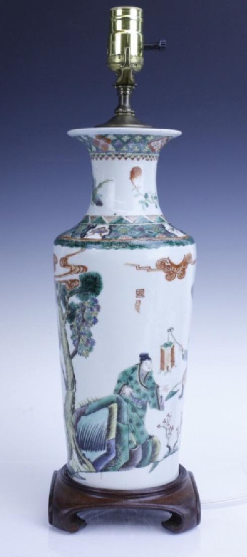 Chinese Export Famille Verte Scenic Vase as Lamp - 5