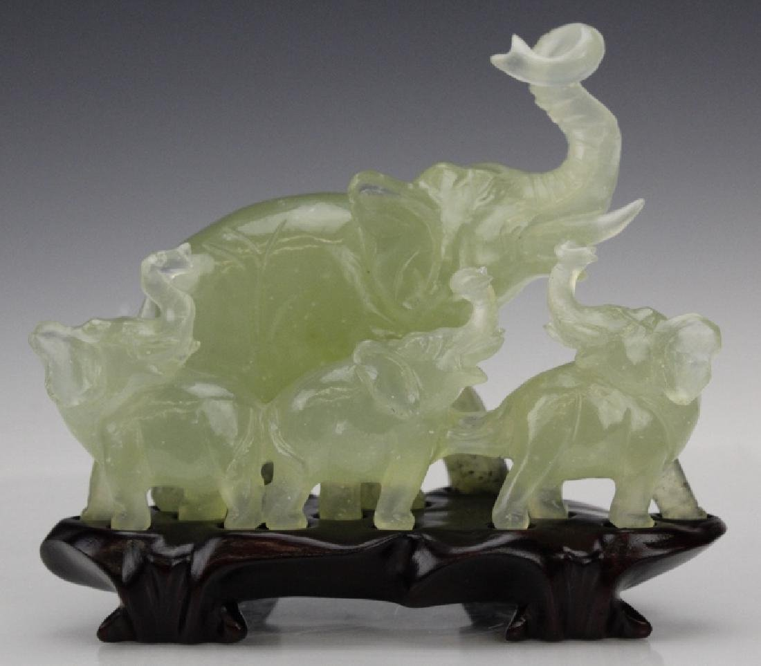 Carved Chinese Green Jade Elephant Figural Group - 4