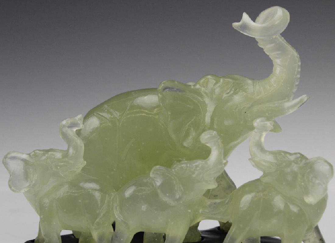 Carved Chinese Green Jade Elephant Figural Group - 5