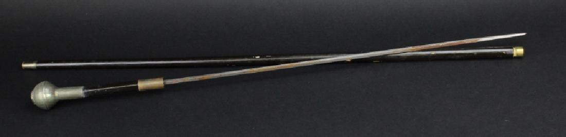 Antique English Regimental Crest Hidden Blade Cane
