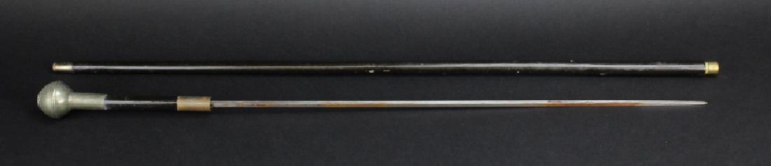 Antique English Regimental Crest Hidden Blade Cane - 3