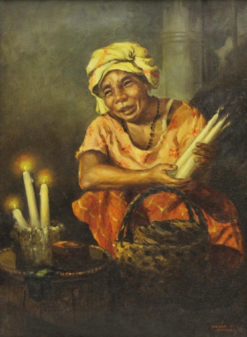 OSCAR NAVARRO Candle Seller Lady Oil Painting