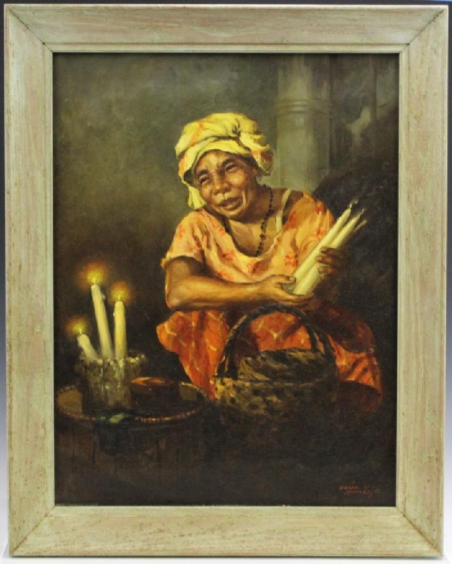 OSCAR NAVARRO Candle Seller Lady Oil Painting - 2