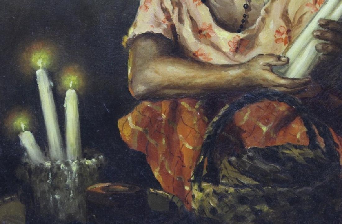 OSCAR NAVARRO Candle Seller Lady Oil Painting - 4