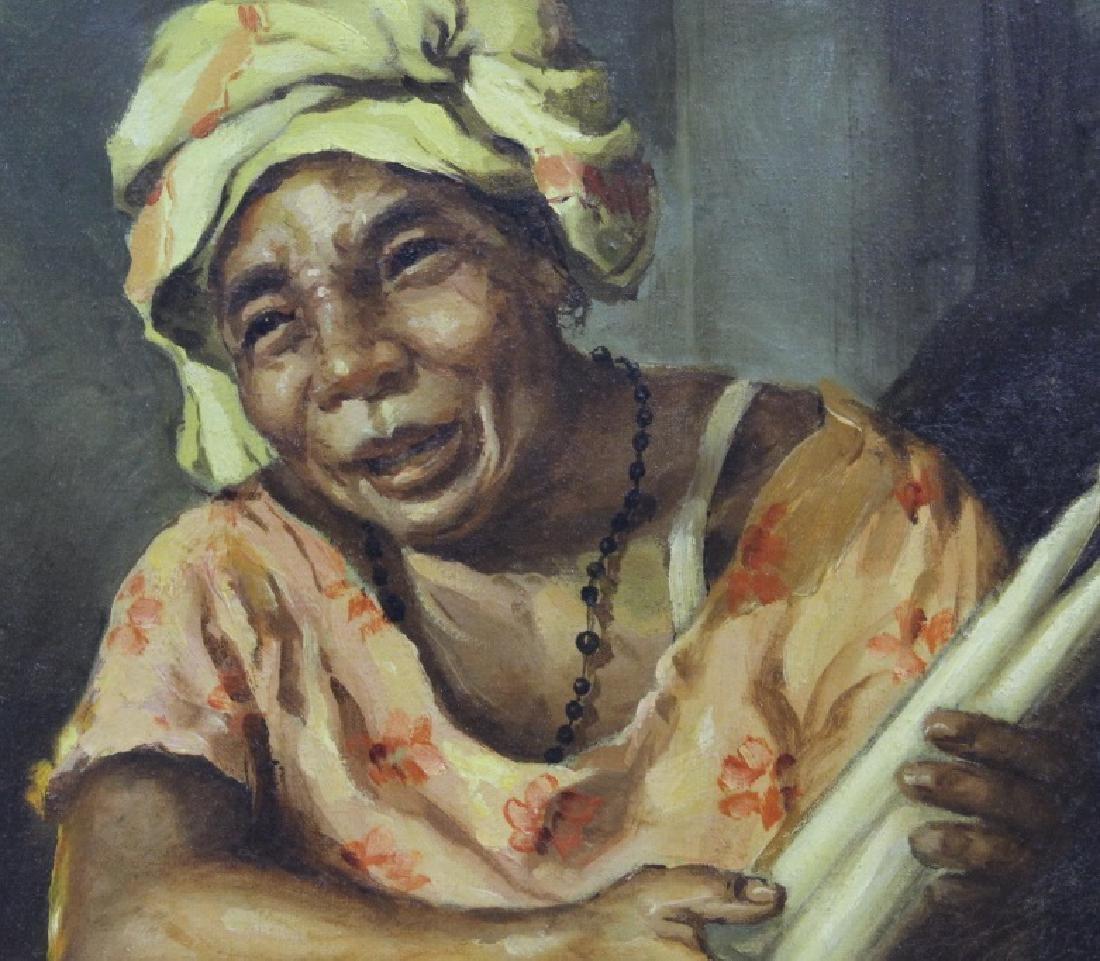 OSCAR NAVARRO Candle Seller Lady Oil Painting - 5