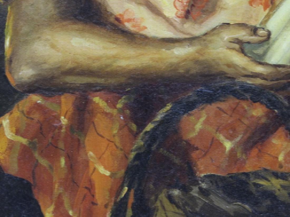 OSCAR NAVARRO Candle Seller Lady Oil Painting - 6