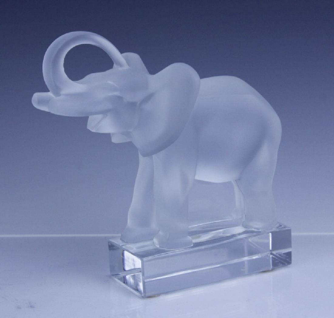 Signed LALIQUE Elephant French Glass Figurine