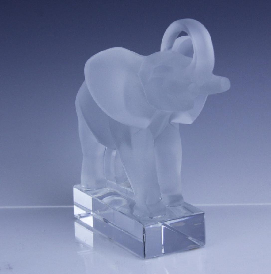 Signed LALIQUE Elephant French Glass Figurine - 2