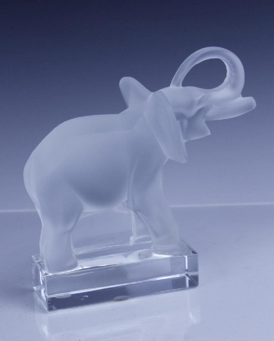 Signed LALIQUE Elephant French Glass Figurine - 6