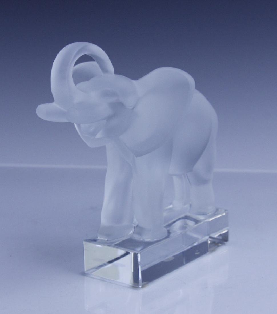 Signed LALIQUE Elephant French Glass Figurine - 7