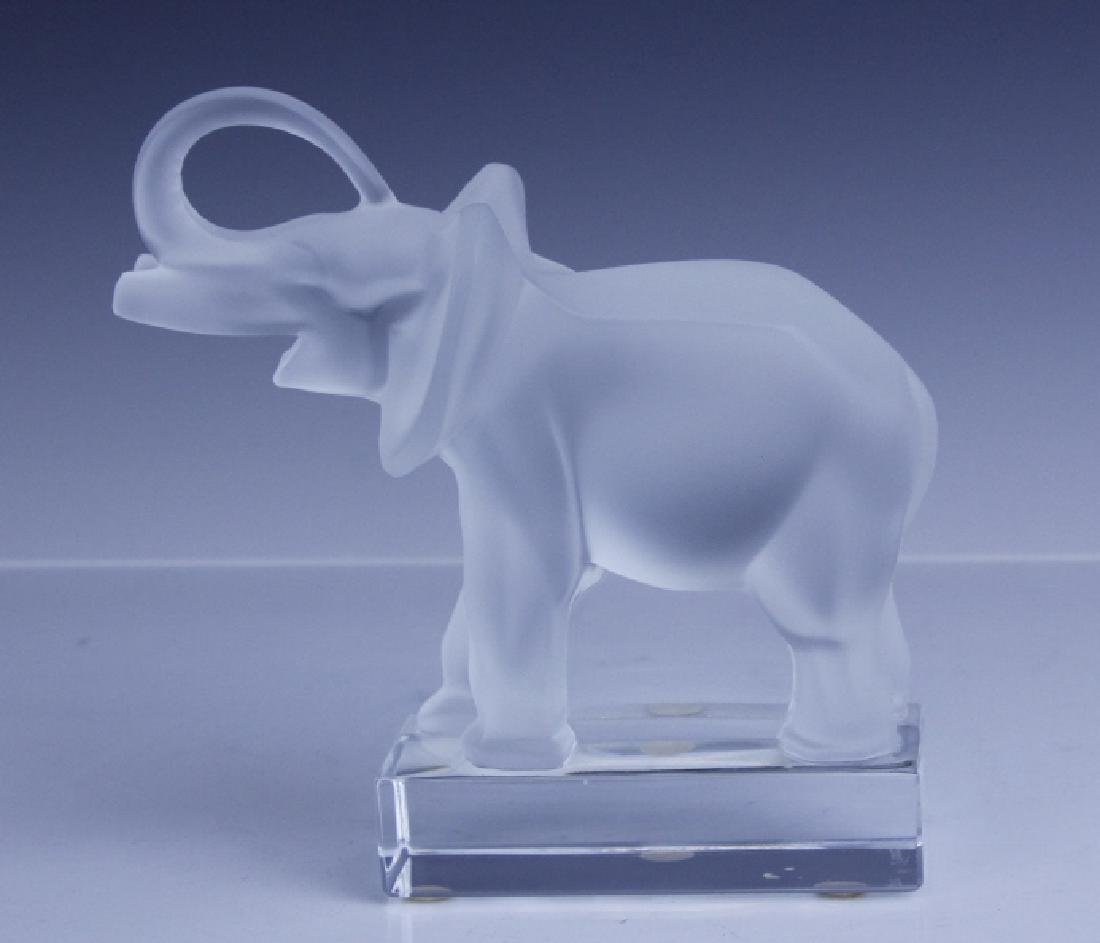 Signed LALIQUE Elephant French Glass Figurine - 8