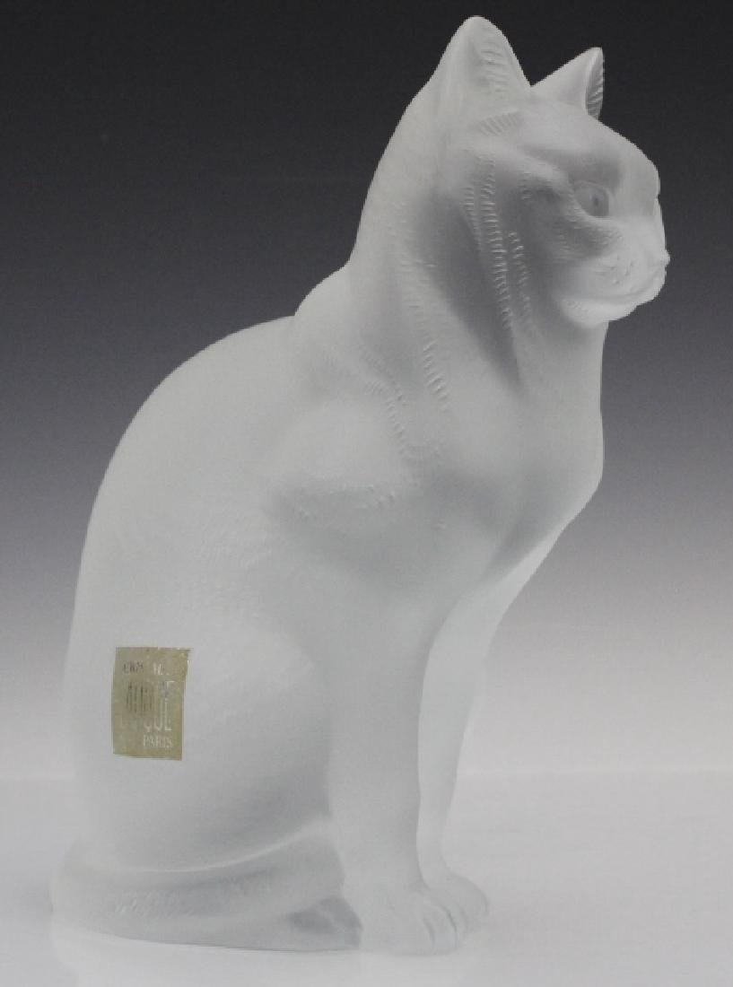 LALIQUE French Crystal Sitting Cat Glass Figurine