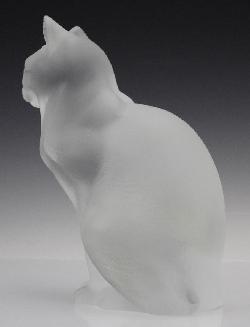 LALIQUE French Crystal Sitting Cat Glass Figurine - 5