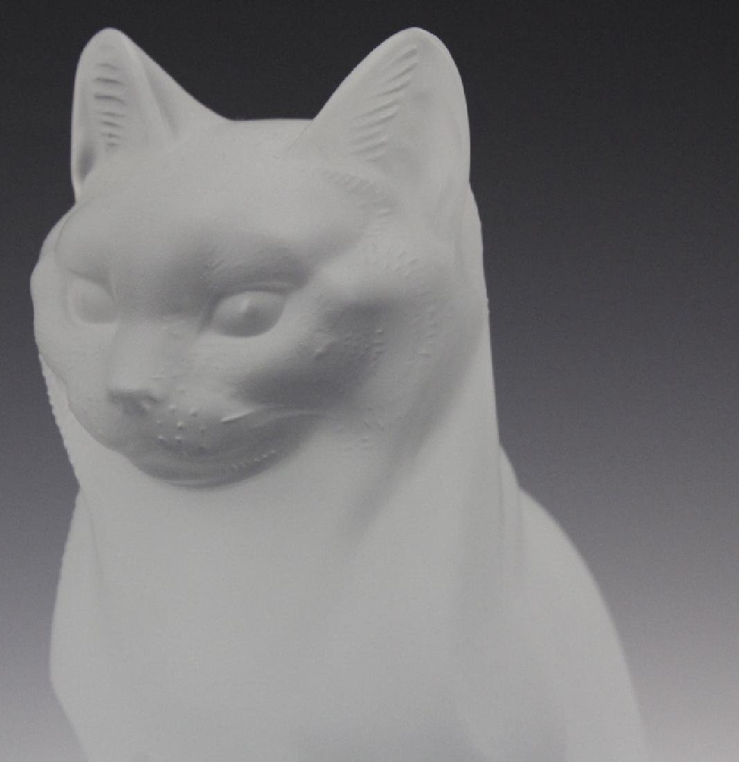LALIQUE French Crystal Sitting Cat Glass Figurine - 7