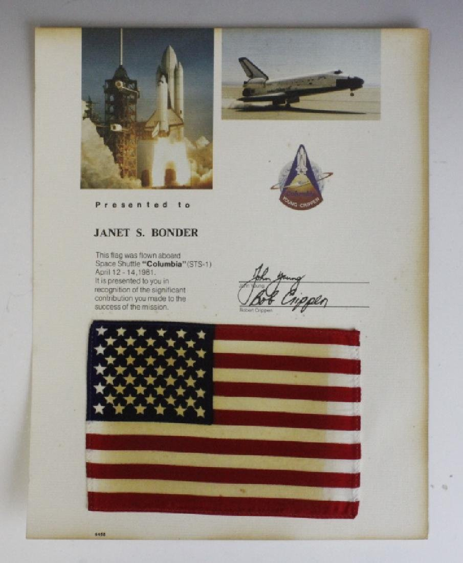 NASA STS-1 Space Shuttle Columbia Flown Flag
