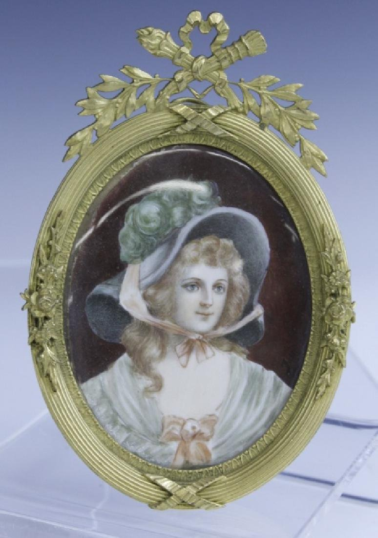 Antique French Court Lady Portrait in Bronze Frame
